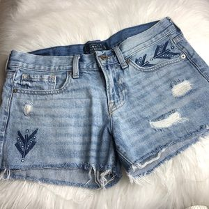 Lucky Brand embroidered cut off distressed shorts